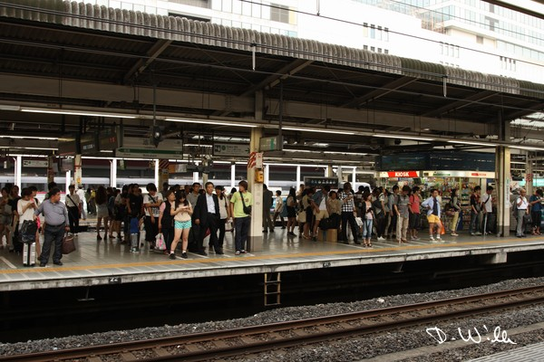 People enqueue disciplined in rows for the next train at Shinjuku station, Tokyo, Japan
