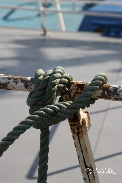 Sailor's knot on a boat at the harbour of Howth, Ireland