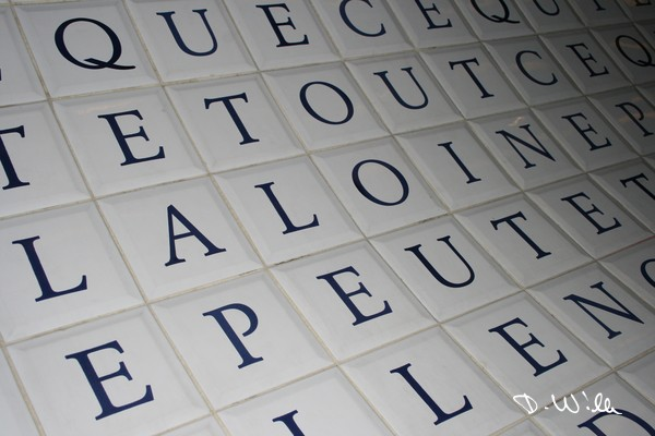 "Tiles with parts of the french constitution at the métro station ""Place de la Concorde"", Paris, France"