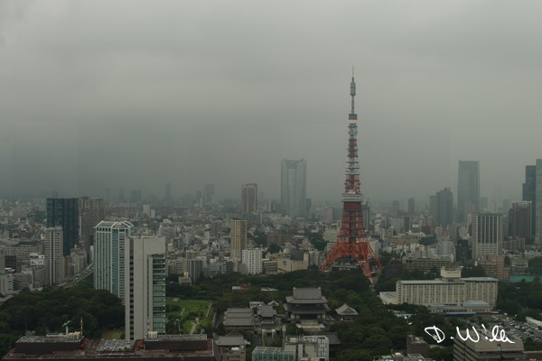 Zōjō-ji Temple and Tokyo Tower seen from the World Trade Center in Hamamatsuchō, Tokyo, Japan