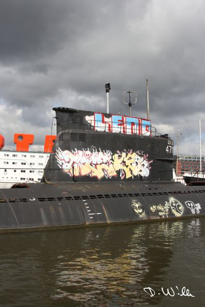 Old Submarine at the NDSM Wharf, Amsterdam, Netherlands