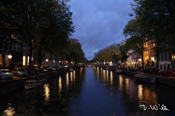 Canal at night, Amsterdam, Netherlands