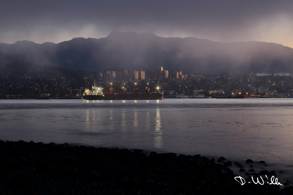 Foggy sunrise over North Vancouver, Vancouver, BC, Canada
