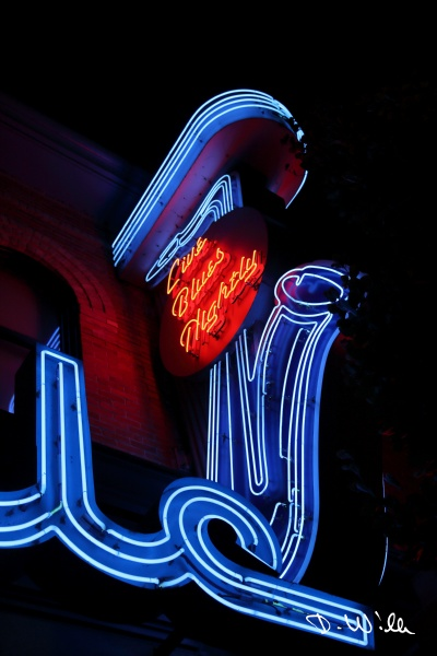 Neon sign of a blues bar, Vancouver, BC, Canada
