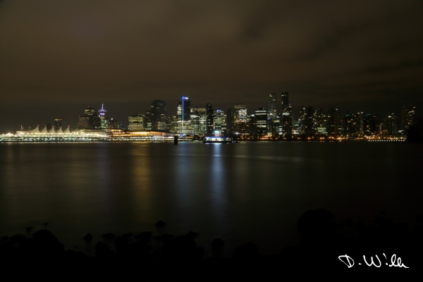 The skyline of Vancouver City at night, Vancouver, BC, Canada