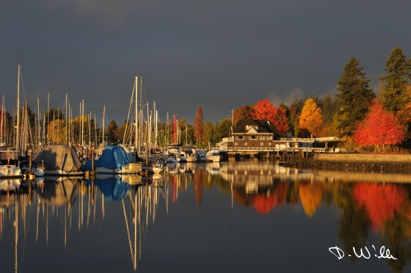 Sunrise at the marina near Stanley Park, Vancouver, BC, Canada