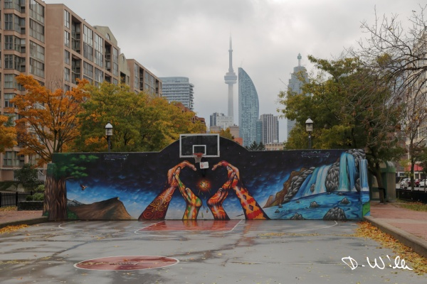 Basketball court with downtown Toronto in the background, Toronto, ON, Canada