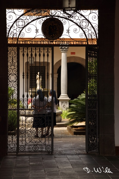Nuns in the patio of Casa Salazar in San Cristóbal de la Laguna, Teneriffe, Spain