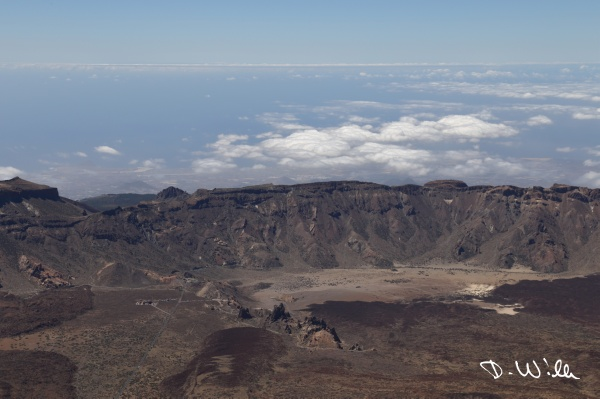 Roques de García seen from the top of Mount Teide, Teneriffe, Spain