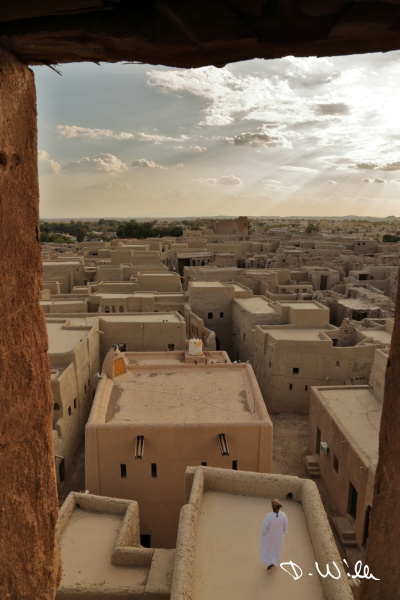 Overview of the old loam town in Manah, Oman