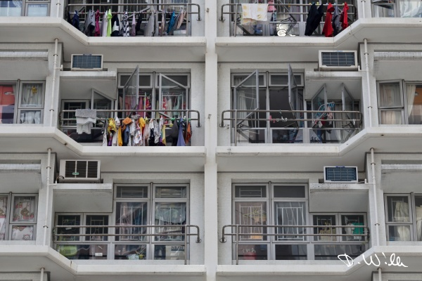 Close-up view of a typical multistory apartment block, Aberdeen, Hong Kong