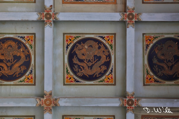 Dragon paintings on a temple ceiling, Tainan, Taiwan