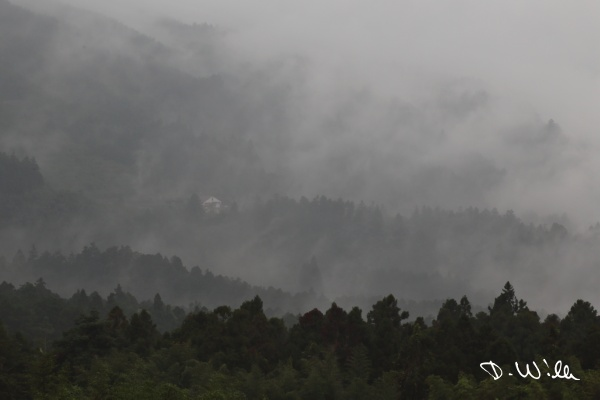Fog hovering above hills, Shizhuo, Taiwan