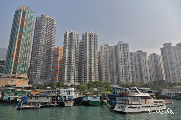 Multistory apartment block at Aberdeen harbor, Aberdeen, Hong Kong