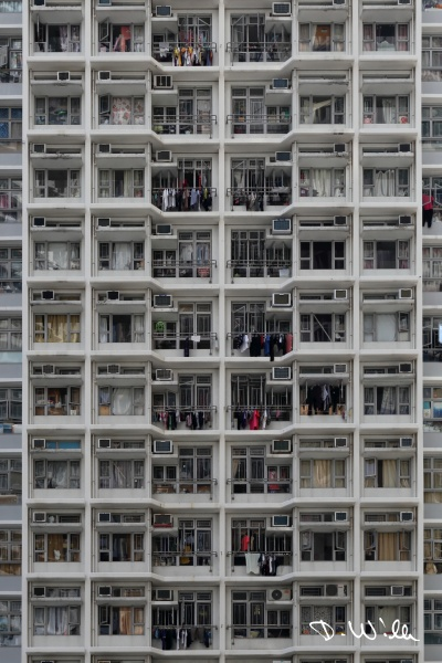 Typical multistory apartment block, Aberdeen, Hong Kong
