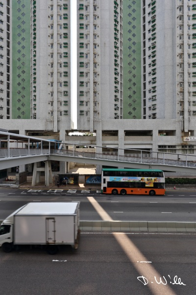 Typical multistory apartment block close to a highway, Aberdeen, Hong Kong