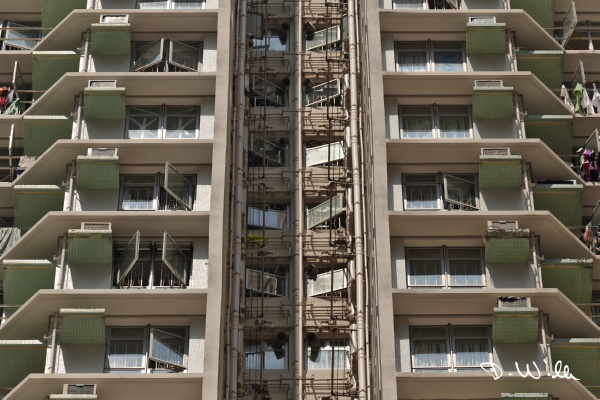Typical plumbing on a multistory apartment block, Aberdeen, Hong Kong