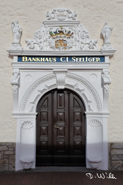 Old entrace of a banking house, Wolfenbüttel, Germany