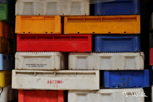 Fish boxes near Sassnitz harbour, Sassnitz, Rügen, Germany